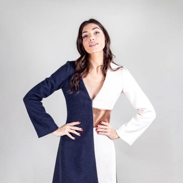 Dress Violetta Blue/Cream/Bronze